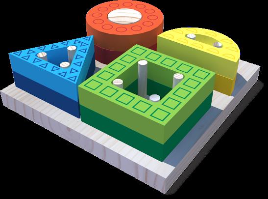 Brinquedo Educativo de Madeira Blocos de Encaixe Formas Vazadas