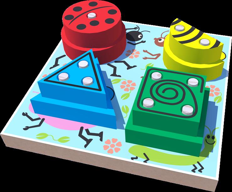 Blocos de Encaixe Jardim Geométrico Brinquedo Educativo de Madeira