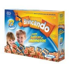 Brincando com Letras e Números Brinquedo Educativo de Madeira