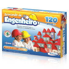 Brinquedo Educativo de Madeira Brincando de Engenheiro 120 peças Xalingo