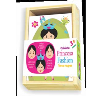 Brinquedo Educativo de Madeira Caixinha Princesa Troca Roupas
