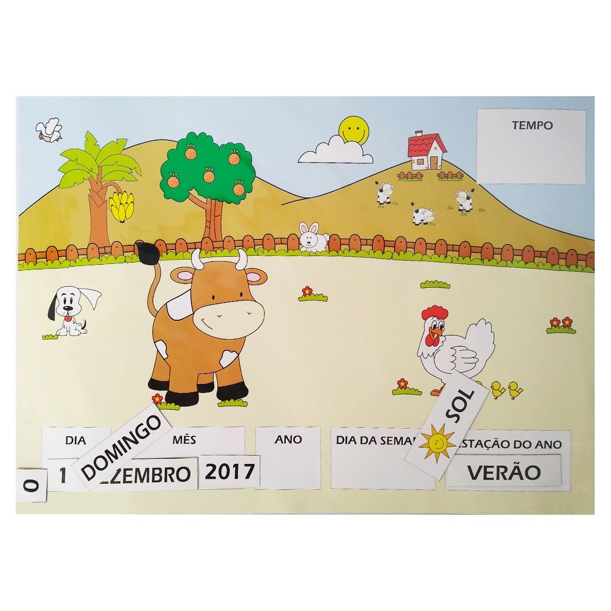 Brinquedo Educativo de Madeira Calendário Imantado Estação e Tempo