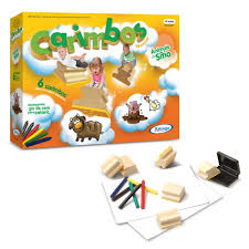 Brinquedo Educativo de Madeira Carimbos Animais do Sítio Xalingo