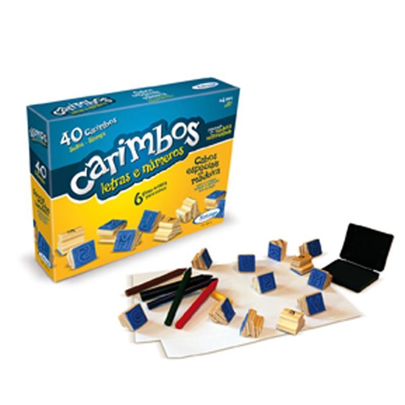 Brinquedo Educativo de Madeira Carimbos Letras e Números Xalingo