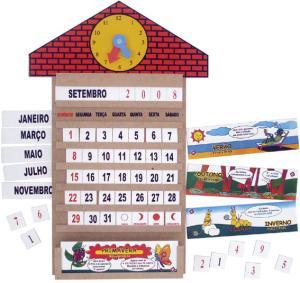 Brinquedo Educativo de Madeira Casinha Calendário com Relógio 58 peças
