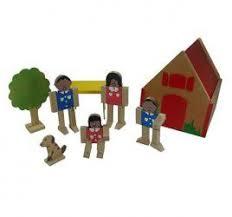 Brinquedo Educativo de Madeira  Casinha com Família Articulada