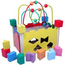 Castelinho de Formas Brinquedo Educativo de Madeira