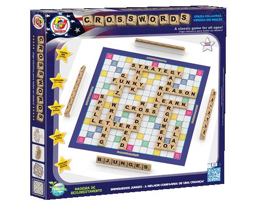Brinquedo Educativo de Madeira Crosswords Palavras Cruzadas Versão em Inglês