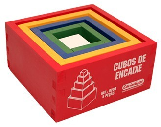 Cubos de Encaixe Brinquedo Educativo de Madeira