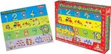 Brinquedo Educativo de Madeira de Encaixar Encaixe de Quantidades