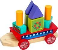 Barco Geométrico Brinquedo Educativo de Madeira de Montar