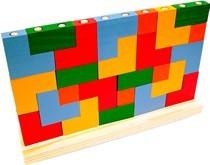 Brinquedo Educativo de Madeira de Montar Blocos de Encaixe
