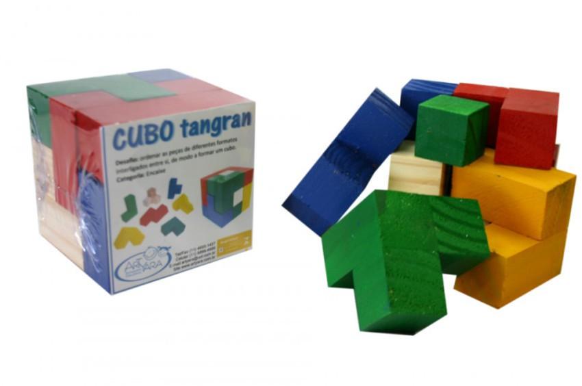 Brinquedo Educativo de Madeira Desafio Cubo de Encaixe Tangram