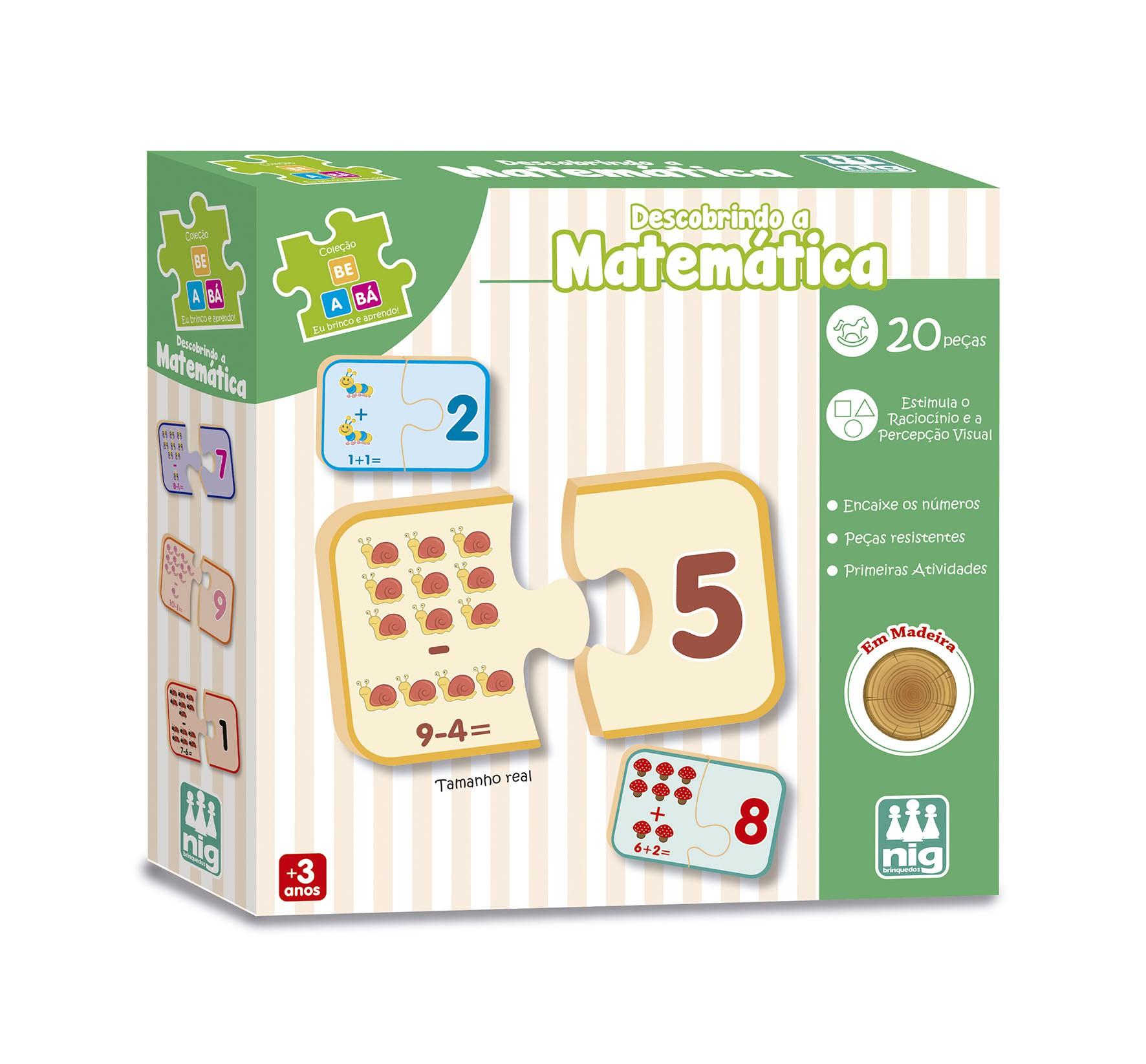 Brinquedo Educativo de Madeira Descobrindo a Matemática 20 Peças