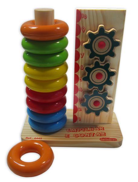 Brinquedo Educativo de Madeira Empilhar e Contar