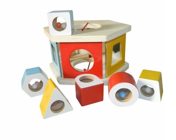 Brinquedo Educativo de Madeira Encaixa e Chacoalha