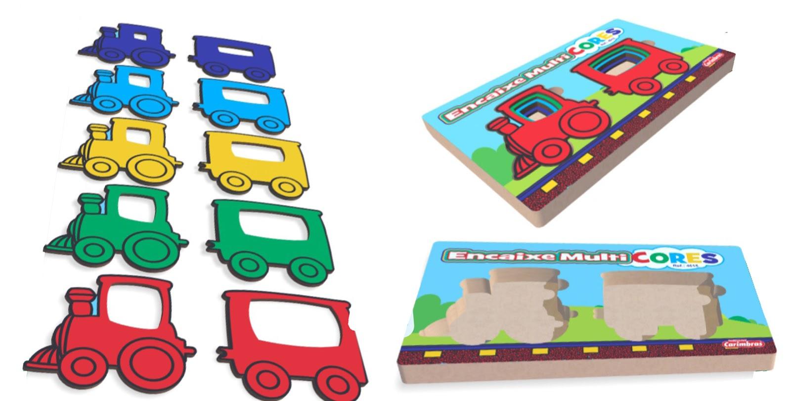 Brinquedo Educativo de Madeira Encaixe Multicores