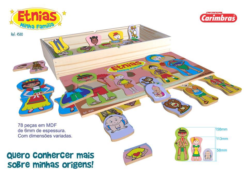 Brinquedo Educativo de Madeira Etnias Minha Família