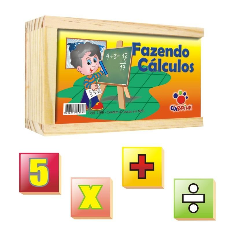 Brinquedo Educativo de Madeira Fazendo Cálculos