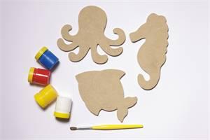 Brinquedo Educativo de Madeira Imãs Divertidos Animais Marinhos