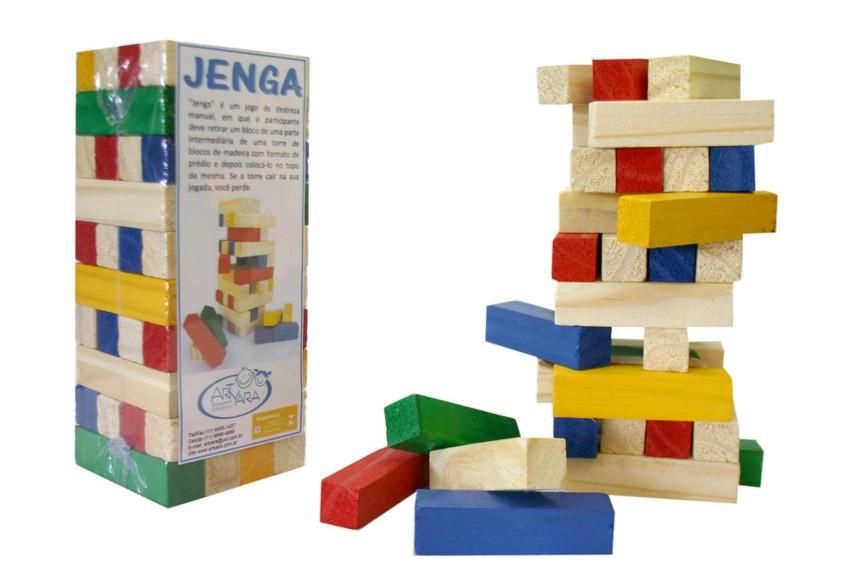 Jenga Colorido Brinquedo Educativo de Madeira
