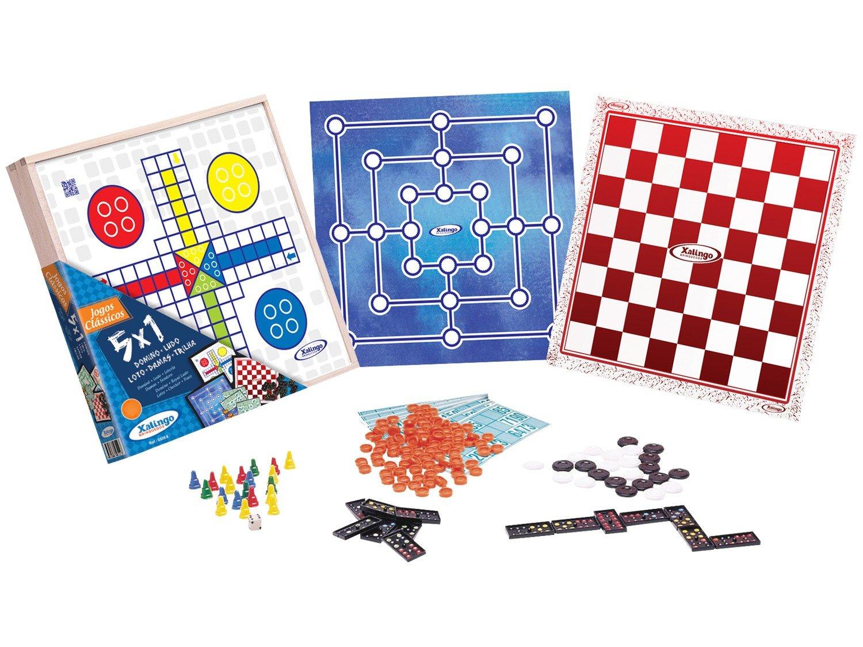 Brinquedo Educativo de Madeira Jogo 5 em 1 Xalingo