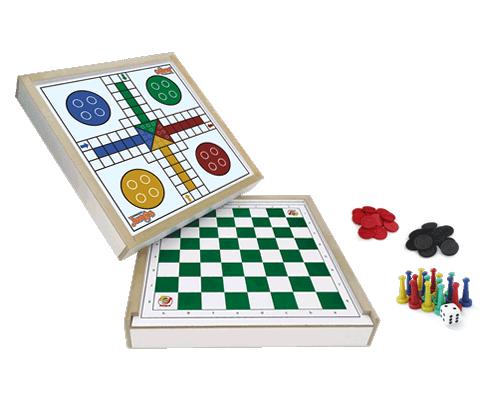Brinquedo Educativo de Madeira Jogo de Damas e Ludo