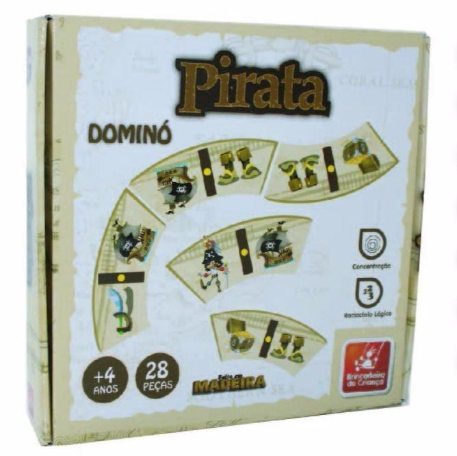 Jogo de Dominó Pirata Brinquedo Educativo de Madeira