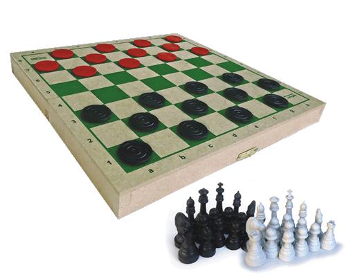 Brinquedo Educativo de Madeira Jogo Xadrez e Damas