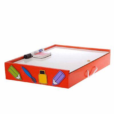 Brinquedo Educativo de Madeira Kit de Arte Maleta do Artista Laranja