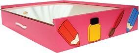 Brinquedo Educativo de Madeira Kit de Arte Maleta do Artista Rosa