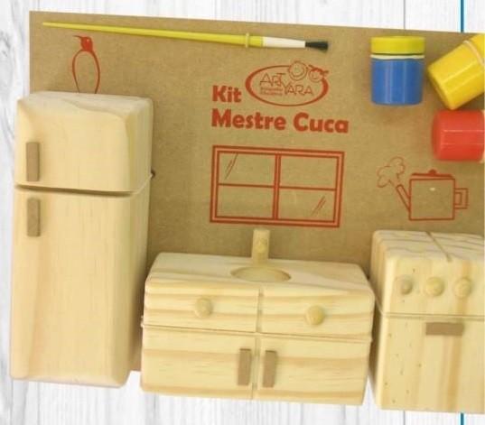 Brinquedo Educativo de Madeira Kit Mestre Cuca Cozinha de Madeira para pintar