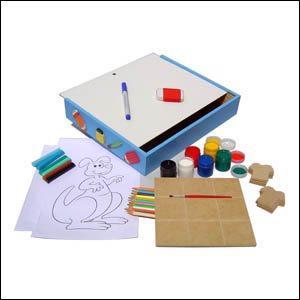 Brinquedo Educativo de Madeira Maleta do Artista Azul