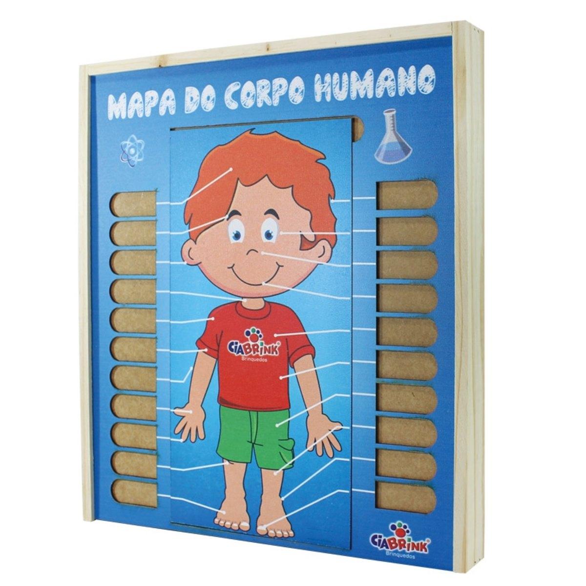 Brinquedo Educativo de Madeira Mapa do Corpo Humano