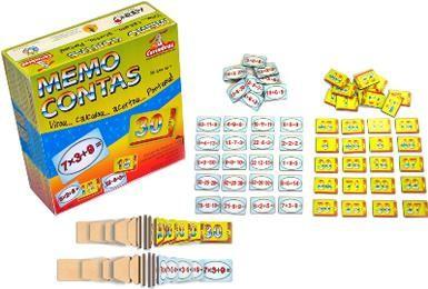 Brinquedo Educativo de Madeira Memo Contas