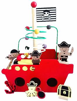 Brinquedo Educativo de Madeira Navio Pirata Vermelho