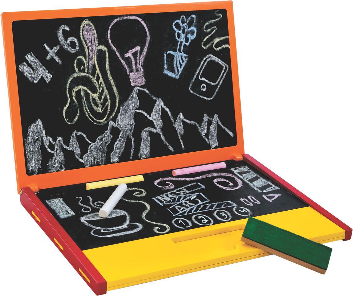 Brinquedo Educativo de Madeira Nootebook Lousa Laranja