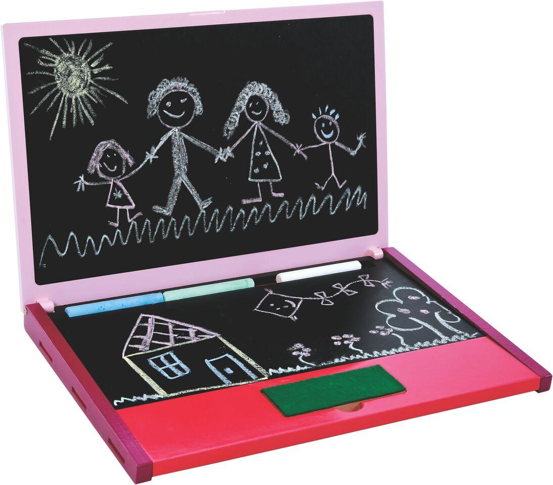 Notebook Lousa Rosa Brinquedo Educativo de Madeira