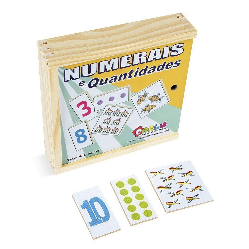 Brinquedo Educativo de Madeira Numerais e Quantidades O Jogo