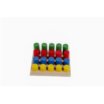 Brinquedo Educativo de Madeira Pinos de Encaixe 20 peças