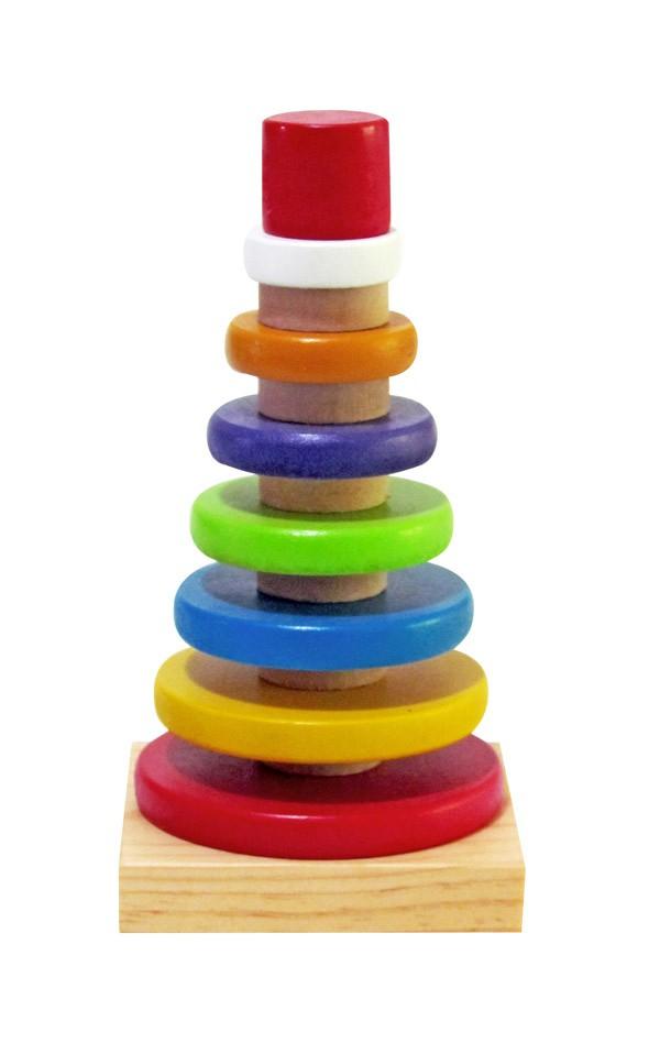 Brinquedo Educativo de Madeira Pirâmide com Anéis