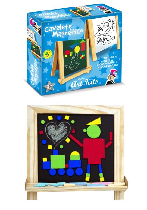 Cavalete Magnético Multiatividades Brinquedo Educativo de Madeira Quadro