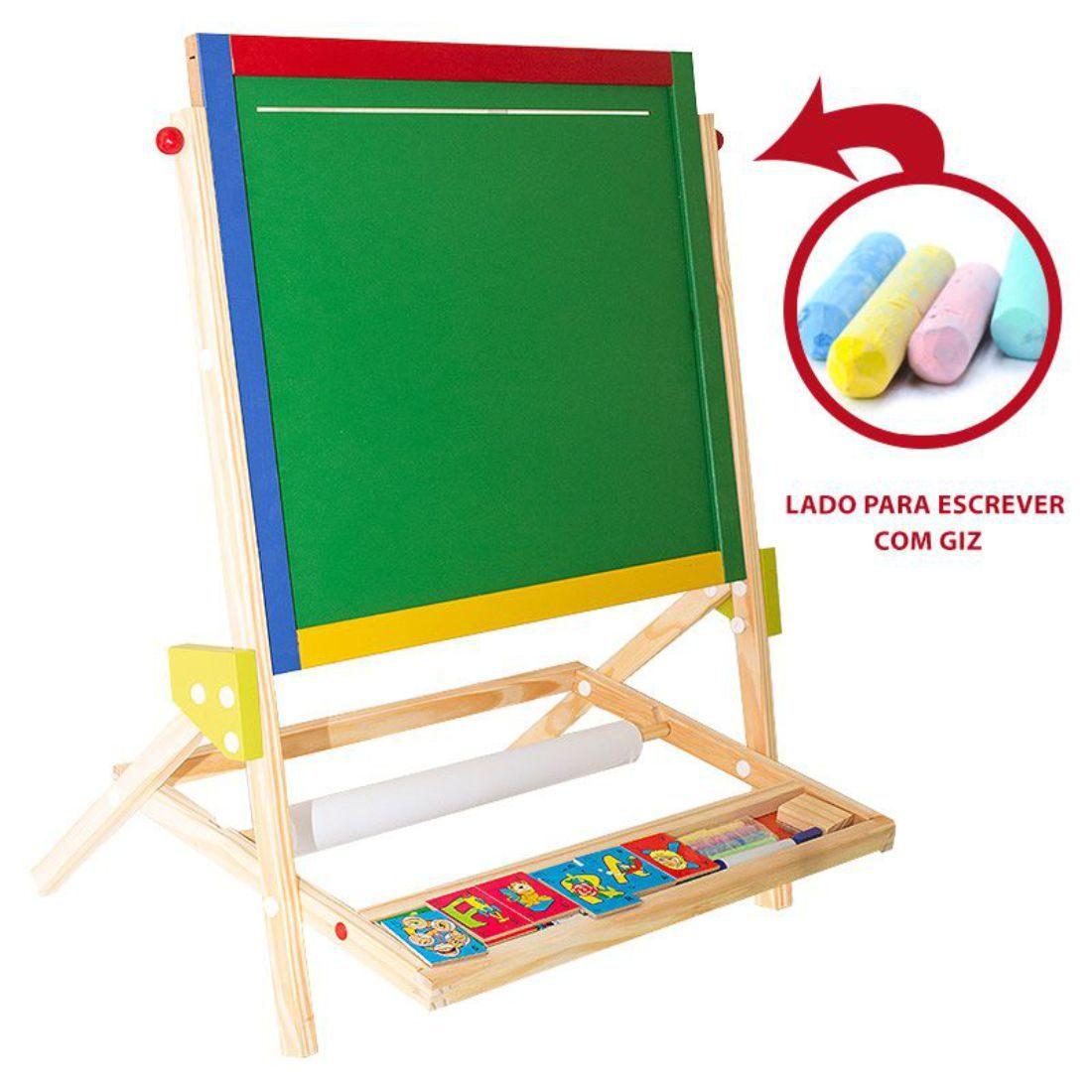 Quadro Didático 3 em 1 Brinquedo Educativo de Madeira