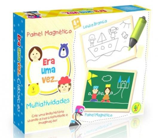 Brinquedo Educativo de Madeira Quadro Painel Magnético Tradicional Era Uma Vez