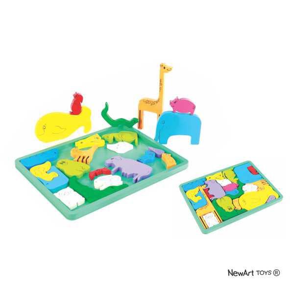 Brinquedo Educativo de Madeira Quebra Cabeça Bicharada