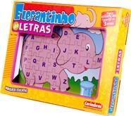 Brinquedo Educativo de Madeira Quebra Cabeça Elefantinho de Letras