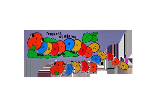 Brinquedo Educativo de Madeira Quebra Cabeça Taturana Numérica