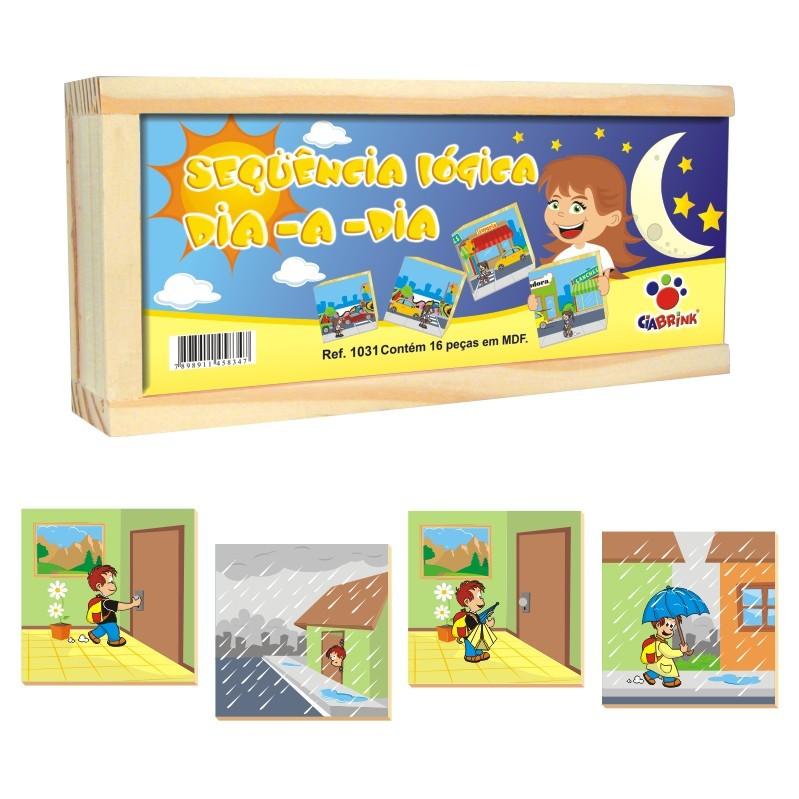 Brinquedo Educativo de Madeira Sequência Lógica Dia a Dia