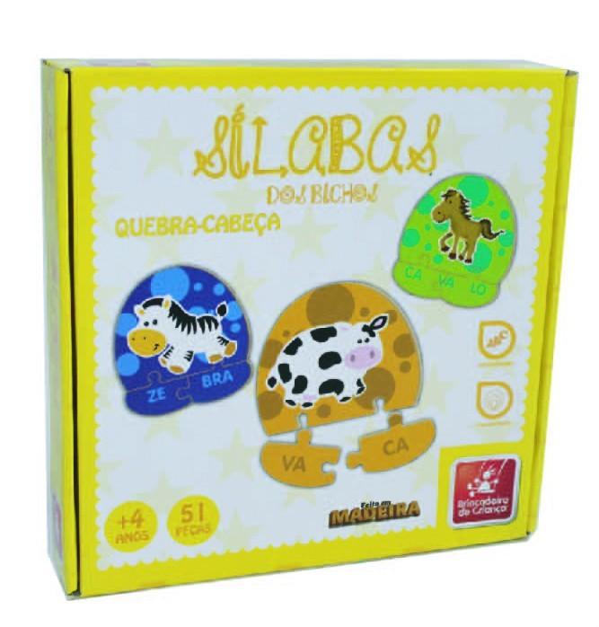 Sílabas dos Bichos Brinquedo Educativo de Madeira