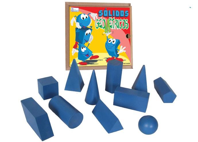 Brinquedo Educativo de Madeira Sólidos Geométricos com 11 Peças